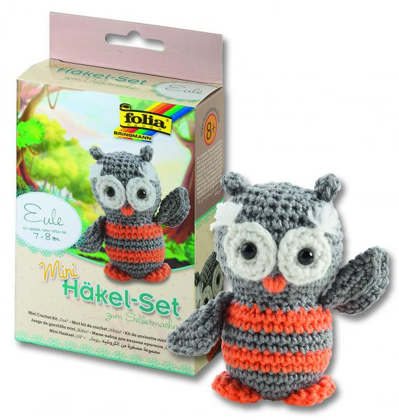 Mini Häkel-Set Eule, 7 - 8cm
